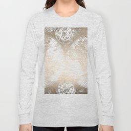 Antique White Gold World Map Long Sleeve T-shirt