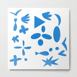 Blue shapes white background 3 Metal Print