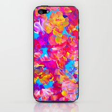 FLORAL FANTASY Bold Abstract Flowers Acrylic Textural Painting Neon Pink Turquoise Feminine Art iPhone & iPod Skin