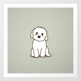 Shih Tzu and Maltese Mix Puppy Illustration Art Print