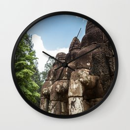 Stone Elephants at Angkor Thom, Siem Reap, Cambodia Wall Clock