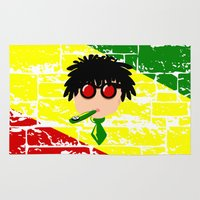 reggae Area & Throw Rugs featuring Reggae Kazoo by mailboxdisco