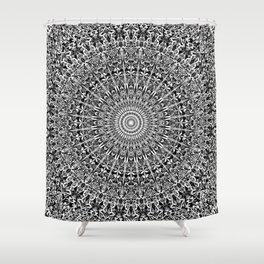 Grey Geometric Floral Mandala Shower Curtain