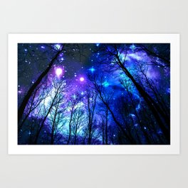 black trees purple blue space Art Print