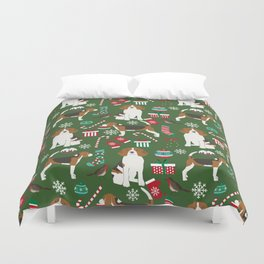 Beagle christmas dog print cute beagle christmas print love beagles Duvet Cover