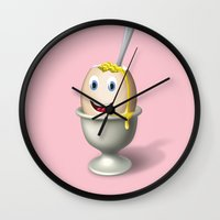 egg Wall Clocks featuring Egg by KrizanDS