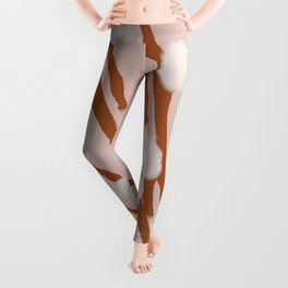 Pussy Willow Catkins Pastel Pink Background Leggings