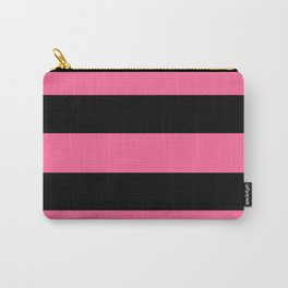 Pink and Black Stripes Carry-All Pouch
