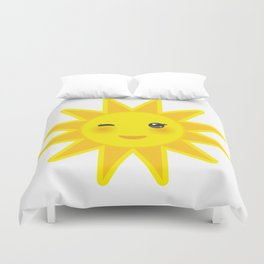 funny cartoon yellow sun smiling and winking eyes and pink cheeks, sun on white background Duvet Cover