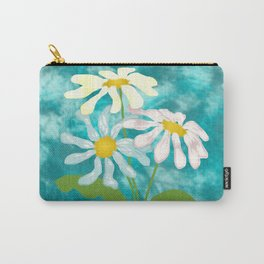 Pastel Daisies on Turquoise Blue Carry-All Pouch