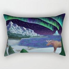Northern Lights Over Snowscape Rectangular Pillow