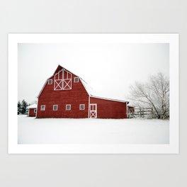 Snowy Red Barn Art Print