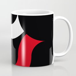 Little white and red tapes floating in a row in a black space Coffee Mug