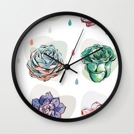 Succulent pattern with drops Wall Clock