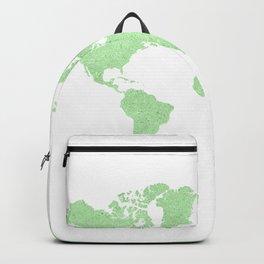 GREEN GLITTER WORLD MAP Backpack