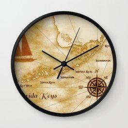 Vintage Nautical Florida Keys Map Wall Clock