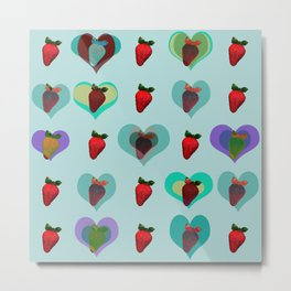 RETRO STRAWBERRY PATTERN 02 Metal Print