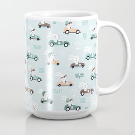 Bunny Race - retro racing pattern Coffee Mug