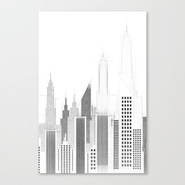 Modern City Buildings And Skyscrapers Sketch, New York Skyline, Wall Art Poster Decor, New York City Canvas Print