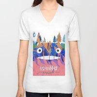 hayao miyazaki V-neck T-shirts featuring Poster Toto ro (Miyazaki) by Mariano F. Hernandez