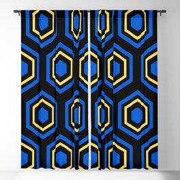 The Hive - Blue-Yellow-Blue Hexagons on Black Background Blackout Curtain