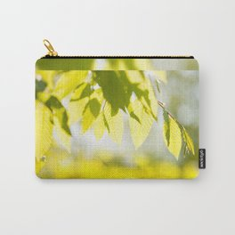 Young Elm leaves on blurred green Carry-All Pouch