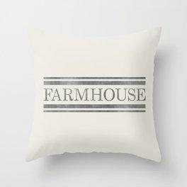 Vintage Farmhouse Grain Sack Design - Cream and Grey Throw Pillow