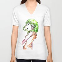 vocaloid V-neck T-shirts featuring Gumi FANART by jannaj