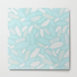 Feather Pattern Mint Metal Print