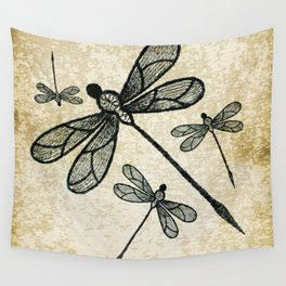 Dragonflies on tan texture Wall Tapestry