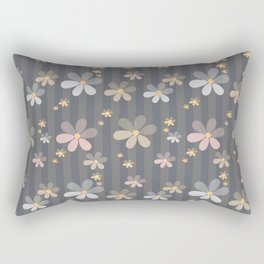 Pink blue flowers on gray background . Rectangular Pillow
