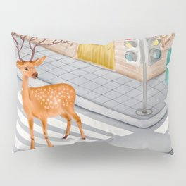 Watercolor Illustration of a beautiful sika deer standing at the crossroad Pillow Sham