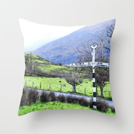 The Sign on the Road to Buttermere, Lake District, UK Watercolour Throw Pillow