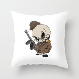 Cute Gangster Skull Throw Pillow