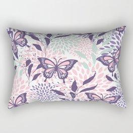 Floral, Butterflies Prints, Purple, Pink, Aqua Rectangular Pillow