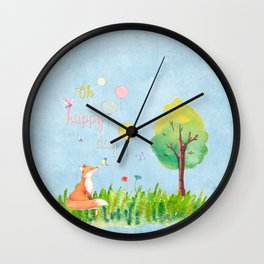 Fox - oh happy day on blue background - Watercolor illustration Wall Clock