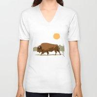 bison V-neck T-shirts featuring Bison by Emre Özbay