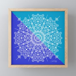 Moroccan Mandala – Blue Diagonal Palette Framed Mini Art Print