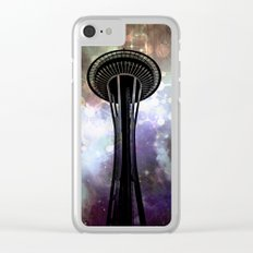 Space Needle - Seattle Stars and Clouds at Night Clear iPhone Case