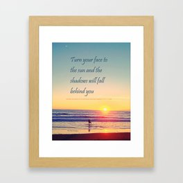 Turn your Face to the Sun and the Shadows will Fall Behind You - Maori Wisdom  - Surfer at Sunrise Framed Art Print