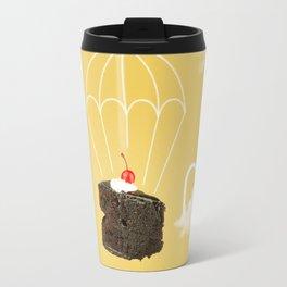 Isolated Chocolate cherry cake with parachute on yellow sky background Travel Mug