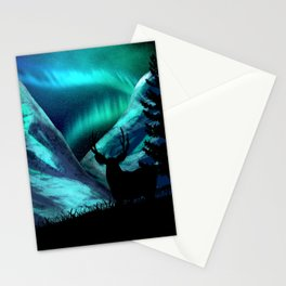 Deer, Mountains, and Aurora Lights Stationery Cards