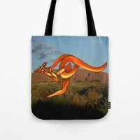 kangaroo Tote Bags featuring Kangaroo by Knot Your World