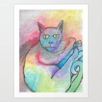 Watercolour cat #5 Art Print
