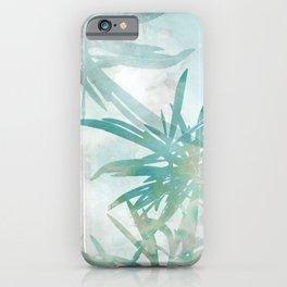Aqua Blue Watercolor Palm Leaves Painting iPhone Case