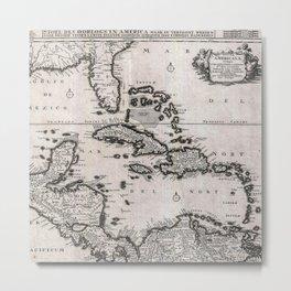 Vintage Americas Map Metal Print