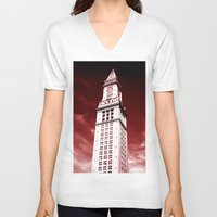 custom V-neck T-shirts featuring Custom House by Gold Street Prints