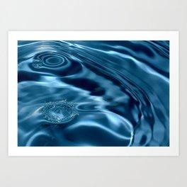 Deep Blue Drip Art Print