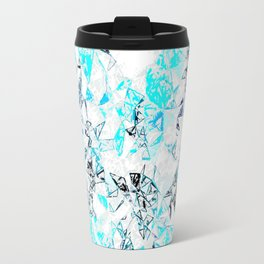 blue heart shape abstract with white abstract background Travel Mug