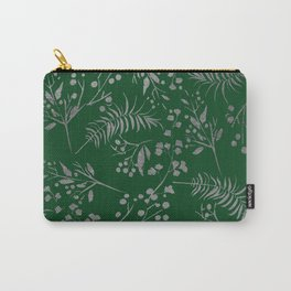 Forest green country chic faux silver floral leaves Carry-All Pouch